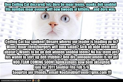 Den Ceiling Cat decrared, letz dere be moar teems, maeks deh snoblol fite numbas moar evener, wiff new bweeds of kittehs......and dere was. Ceiling Cat haz spoken! Unsure wherez yur leader is leading yu tu? Wantz moar cheezburgers wiff tuna salad? Sick ob olde teem and abatar? Wants to be on deh winnen snoblol teem? No haz teem yet? Jus wahnt to stirz up deh trubble? Den dis announcament is fer yu! NOO TEAM COMING SOON! Aplikashuns now bein aksepted. Join for 2011 Snoblol Fite Feb 5/6 Soop