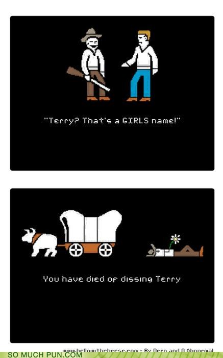 cause,comic,Death,died,dissing,dysentery,homophones,mac,oregon trail,pixelated,terry,video game