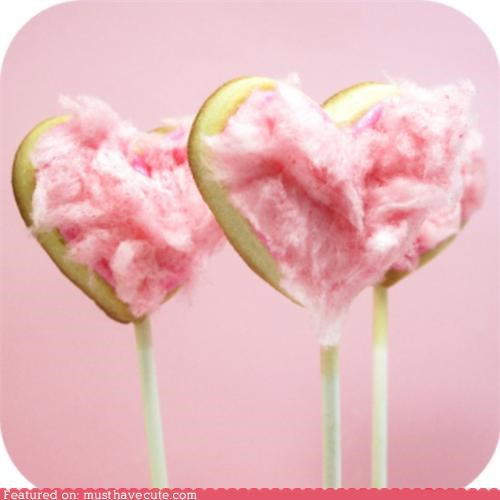 cokies,cotton candy,epicute,hearts,on a stick