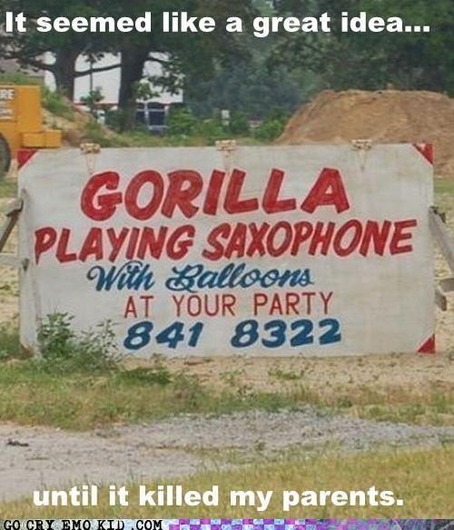 bad puns,bananas,emolulz,gorilla,murder,saxophone
