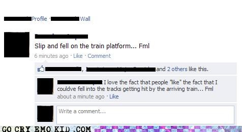 facebook fell fml friends hit i like this slipped train