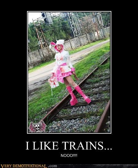 cosplay bad idea tracks trains