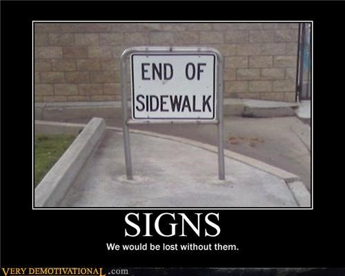signs,end of sidewalk