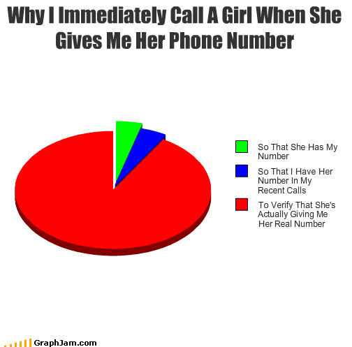 calling girl numbers phone Pie Chart rickroll verification