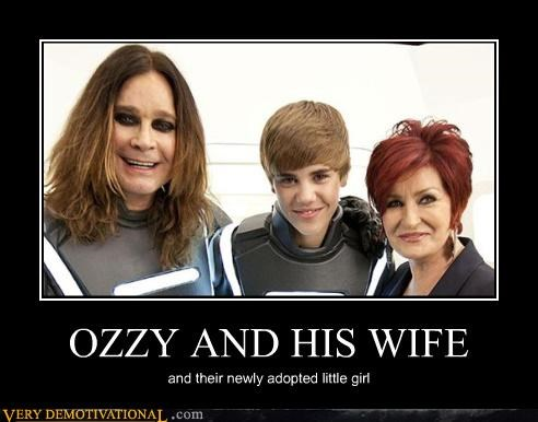 OZZY AND HIS WIFE and their newly adopted little girl