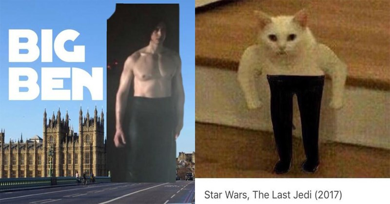 Funny memes about shirtless kylo ren, ben swolo, star wars, the last jedi.