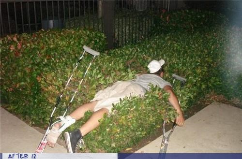 bushes,crutches,drunk,fall,passed out