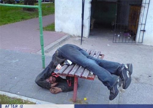 bench drunk passed out