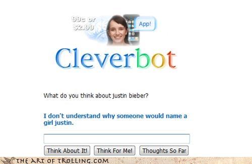 boy Cleverbot girl justin bieber names sense - 4419025408
