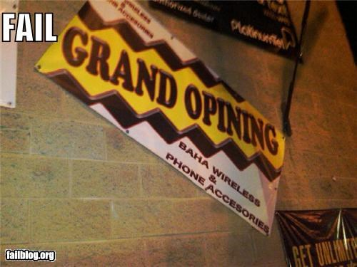 banner failboat grand opening g rated sign spelling - 4419374848