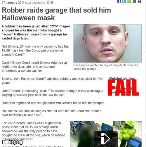 bad idea failboat g rated identity mask garage sale Probably bad News robbery - 4420232448