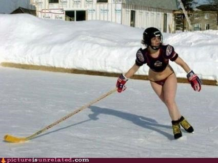 babe,hockey,hockey time,scantily clad,snow,sports,wtf