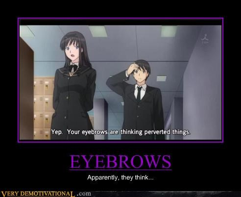wtf eyebrows anime think