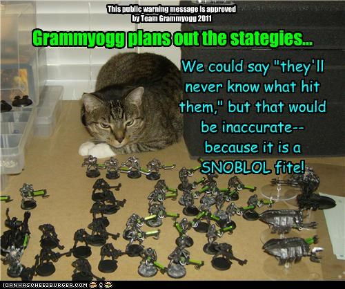 """Grammyogg plans out the stategies... We could say """"they'll never know what hit them,"""" but that would be inaccurate--because it is a SNOBLOL fite! This public warning message is approved by Team Grammyogg 2011"""