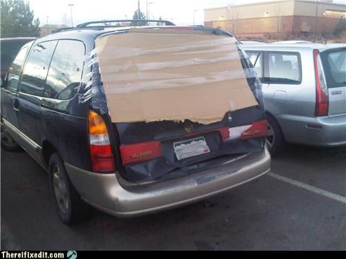 car window,cardboard,packing tape,rear window