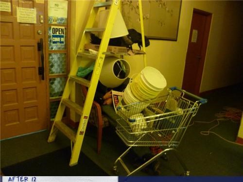 ladder,passed out,shopping cart,stacking