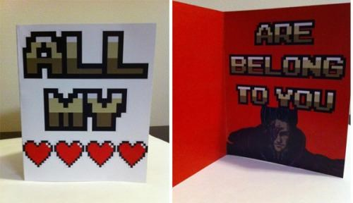 8 bit merch valentine card Valentines day video games - 4422488064