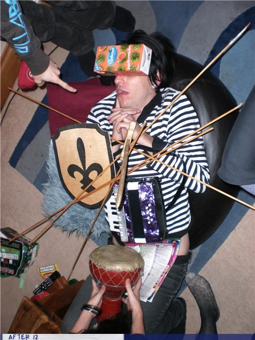 drum,passed out,shield,stacking,sword