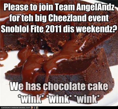 Please to join Team AngelAndz for teh big Cheezland event Snoblol Fite 2011 dis weekendz?