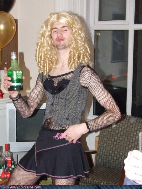 cross dresser,fishnets,weird,wig
