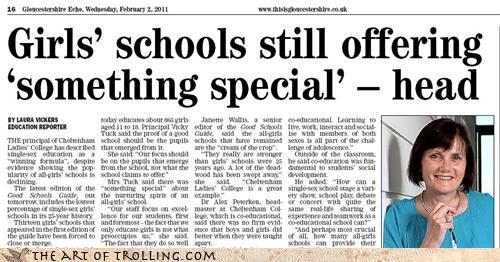 girls head headline news school special
