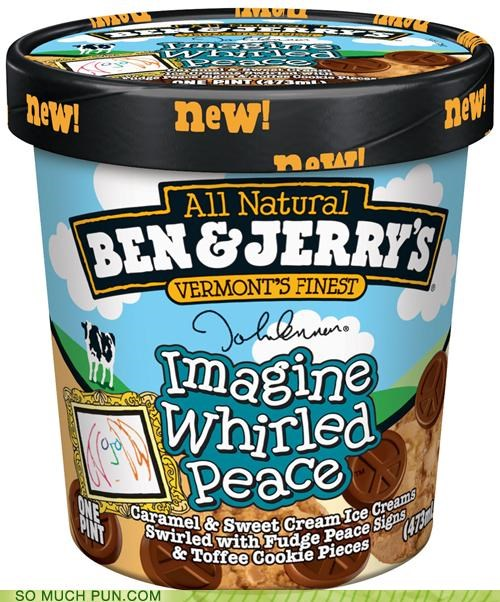 ben-jerrys brand flavor homophone ice cream imagine john lennon peace whirled world - 4424160000