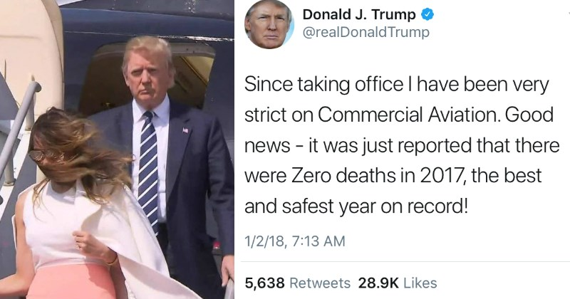 Twitter Trolls Donald Trump After He Takes Credit For Commercial Aviation Safety in Absurd Tweet