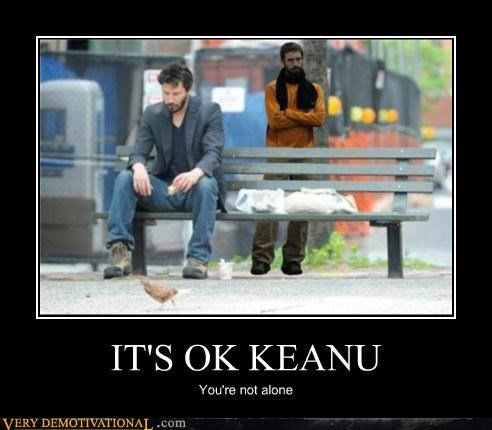 Sad keanu reeves alone bench