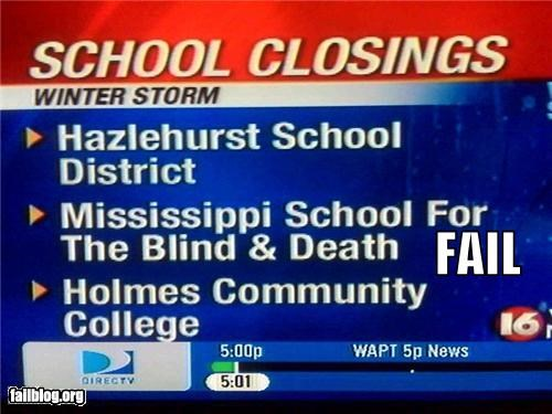deaf,Death,failboat,g rated,news,schools,snow,spelling,television,yikes