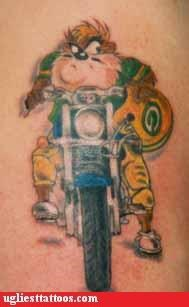 motorcycles,Tasmanian Devil,makes sense,tattoos,football,funny
