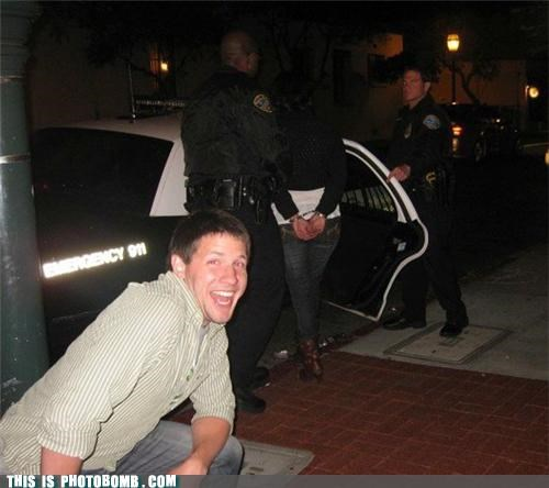 arrest,hand cuffs,lol,making the best of a bad time,photobomb,police