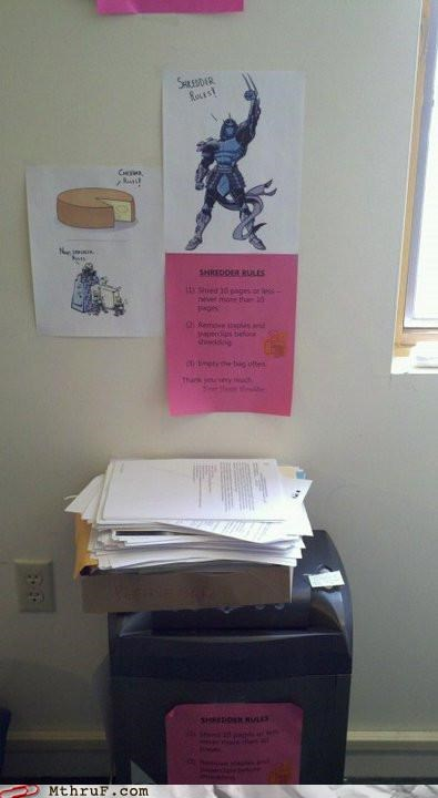 awesome note rules shredder signs teenage mutant ninja turtles