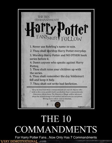 7 commandments Harry Potter wrong number