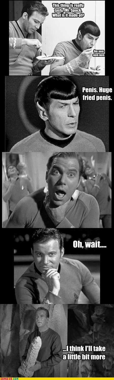 Captain Kirk,nom nom nom,penis,Spock,Star Trek,Vulcan