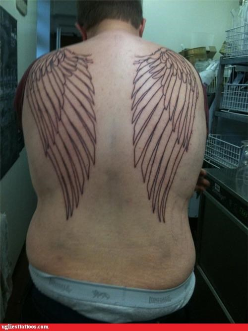 wings,back piece,tattoos,funny,g rated,Ugliest Tattoos