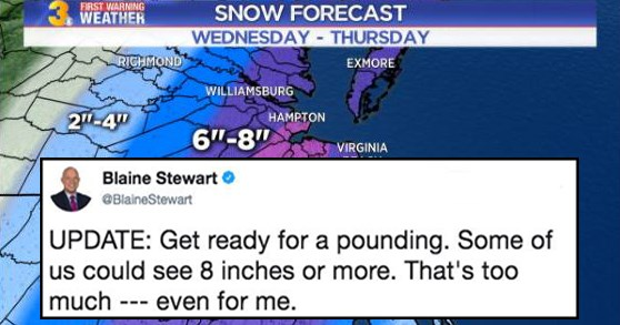Funny memes and tweets about news anchor Blaine Stewart tweet about weather, pounding, snow, bomb cyclone, sexual innuendo, gay.