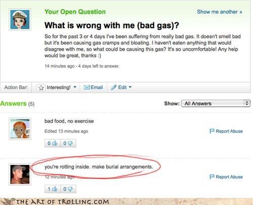 gas health rotting Yahoo Answer Fails