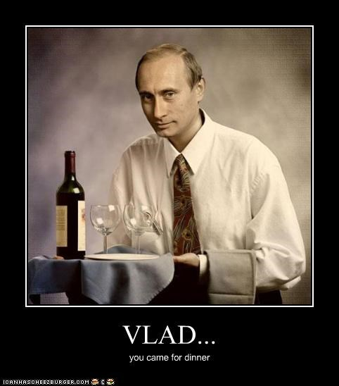 dinner glad happy Vladimir Putin vladurday wine