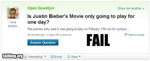 facepalm failboat g rated justin bieber movies really understanding yahoo questions - 4431390720