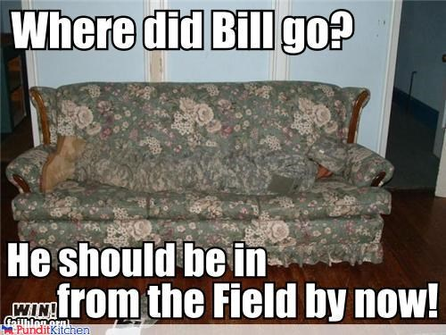 camouflage couch hiding military soldier uniform