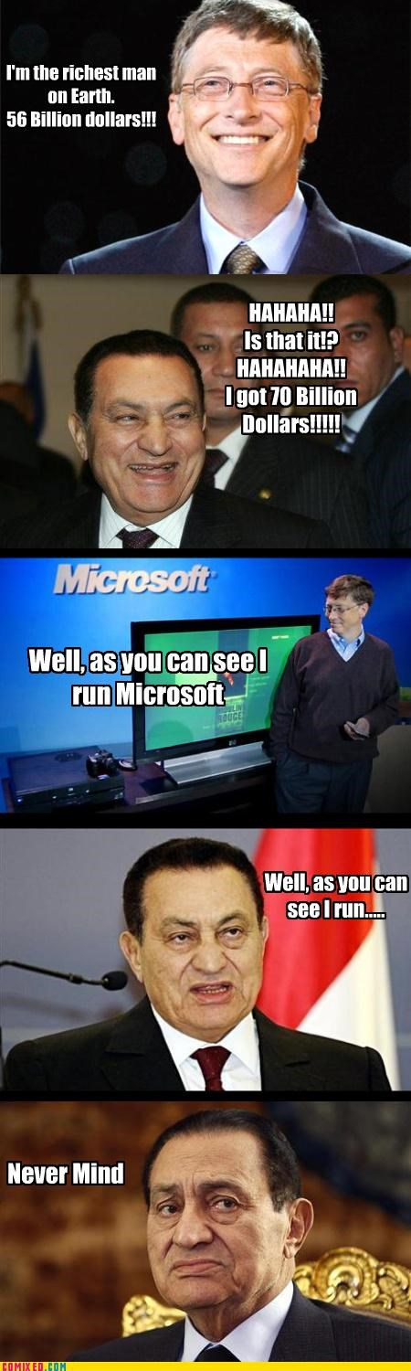 Bill Gates,egypt,Hosni Mubarak,money,politics,puns