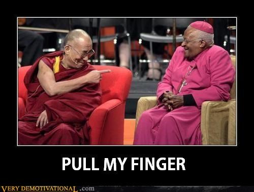 Dalai Lama,bishop,pull my finger