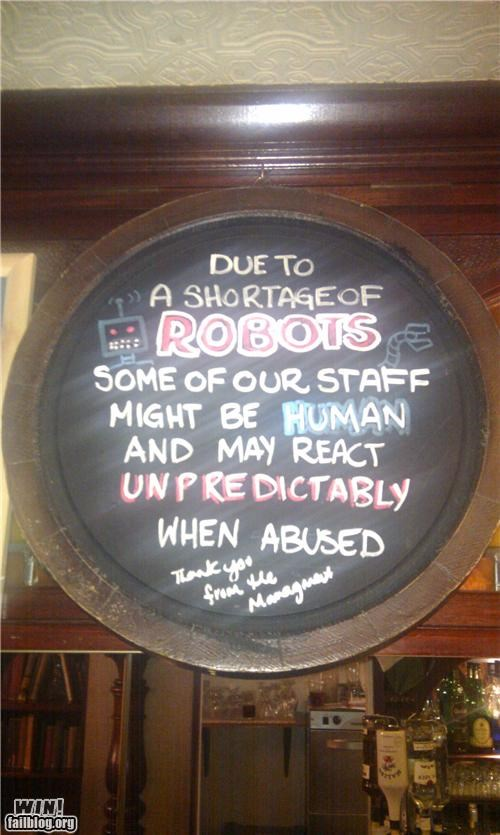 awesome at work,blackboard,clever,customer service,robots