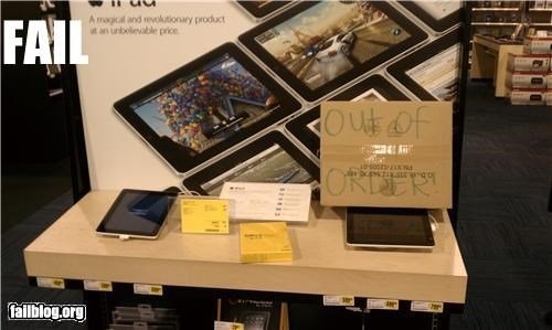 best buy demo failboat ipad out of order sign technology