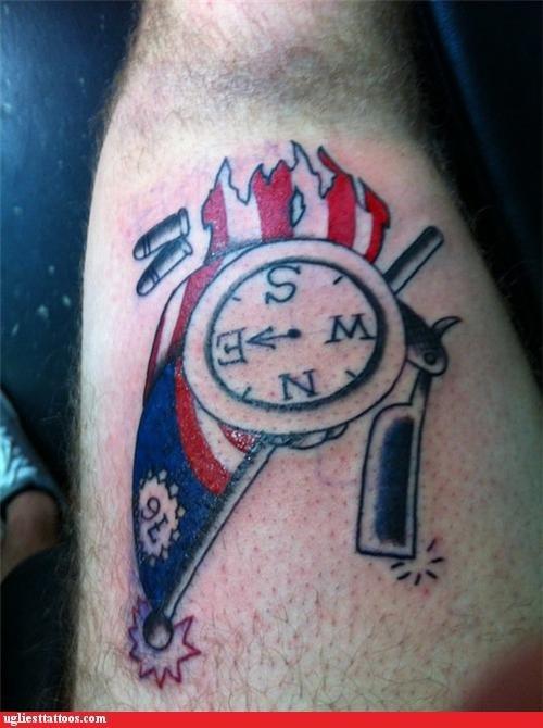 flags tattoos compass funny razors - 4434437376