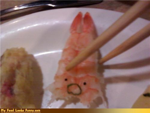 face,noooo,scared,shrimp,sushi