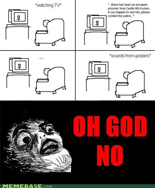 escaped mental patient,horror movie,movie tropes,Rage Comics,raisins-super-fuuuu,upstairs