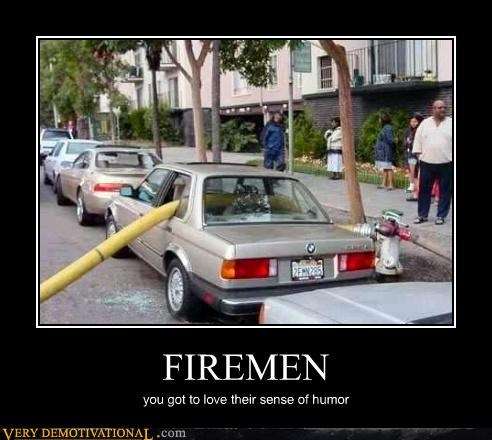 broken windows,car,firemen,humor