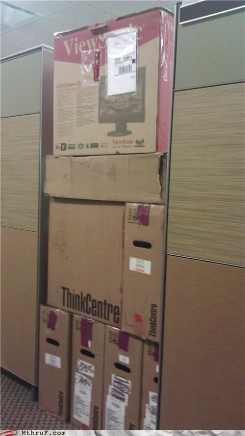 boxes,cardboard,cubicle,door,prank