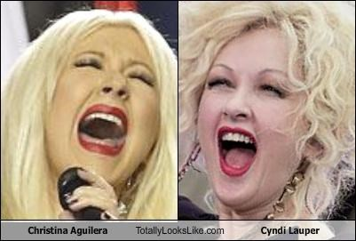 blondes,christina aguilera,cyndi lauper,lipstick,mouths,singers,singing